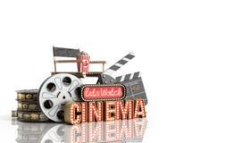 Il cinema ha avuto navata leggera di concetto lascia il cinema 3d dell'orologio rendere sul whi Fotografie Stock Libere da Diritti