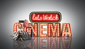 Il cinema ha avuto navata leggera di concetto lascia il cinema 3d dell'orologio rendere sul whi Immagini Stock Libere da Diritti