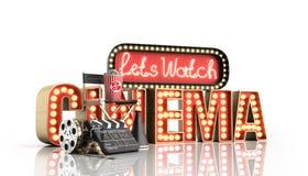 Il cinema ha avuto navata leggera di concetto lascia il cinema 3d dell'orologio rendere sul whi Fotografia Stock Libera da Diritti