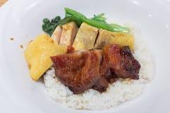 Il cinese ha arrostito col barbecue la carne di maiale ed il vapore del pollo con riso Immagine Stock Libera da Diritti