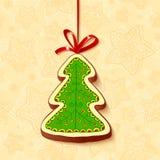 Il cioccolato dell'albero di Natale miele-agglutina la cartolina d'auguri Fotografia Stock