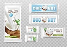 Il cioccolato della noce di cocco ha isolato la derisione realistica di vettore su progettazione d'imballaggio dell'etichetta del royalty illustrazione gratis