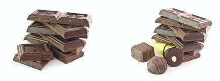 Il cioccolato ed i dolci isolati Fotografie Stock