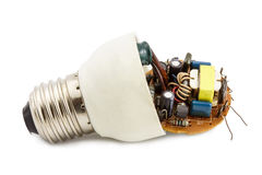 Il circuito di un compatto fluorescente Fotografia Stock