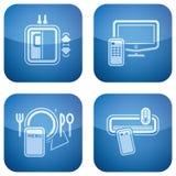 Il cobalto 2D ha quadrato le icone impostate: Hotel Fotografie Stock Libere da Diritti