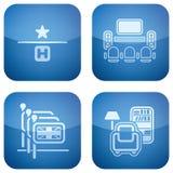 Il cobalto 2D ha quadrato le icone impostate: Hotel Immagine Stock