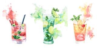 Il cocktail di frutta tre con spruzza dell'acquerello Immagini Stock