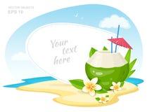 Il cocktail fresco della noce di cocco con i fiori di plumeria, le paglie e l'ombrello sull'isola tirano Attributo di vacanza di  illustrazione di stock