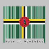 Il codice a barre ha fissato il colore della bandiera della Dominica, campo verde di A con l'incrocio del pappagallo giallo, in b illustrazione vettoriale