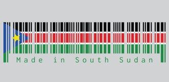 Il codice a barre ha fissato il colore verso sud della bandiera del sudanese, il nero rosso e verde con le bande bianche; con un  illustrazione vettoriale