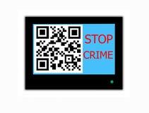 Il CODICE e lo slogan di QR FERMANO IL CRIMINE sullo schermo della televisione Fotografia Stock Libera da Diritti