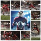 Il collage circa i giocatori di football americano fotografia stock
