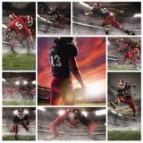 Il collage circa i giocatori di football americano immagine stock