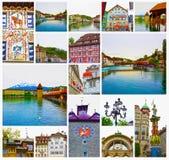 Il collage circa vecchia Lucerna Svizzera Immagini Stock Libere da Diritti