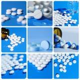 Il collage comprende il bianco sulle compresse di un fondo del blu, pillole Fotografie Stock