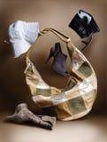 Il collage con la protezione calza il sacchetto Fotografie Stock