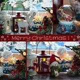 Il collage con le decorazioni della finestra di natale ed il saluto mandano un sms a Fotografie Stock Libere da Diritti