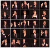 Il collage dalle espressioni maschii differenti del fronte fotografie stock