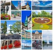 Il collage dalle immagini di Ginevra, Svizzera Fotografia Stock