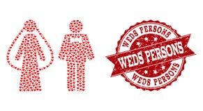 Il collage del cuore di amore di Weds l'icona delle persone e la guarnizione di lerciume illustrazione vettoriale