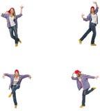 Il collage del dancing della donna isolato su bianco Immagine Stock