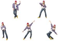 Il collage del dancing della donna isolato su bianco Immagini Stock