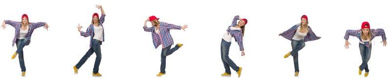 Il collage del dancing della donna isolato su bianco Immagini Stock Libere da Diritti