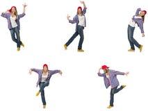 Il collage del dancing della donna isolato su bianco Fotografie Stock