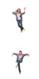 Il collage del dancing della donna isolato su bianco Fotografie Stock Libere da Diritti
