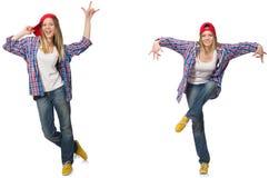 Il collage del dancing della donna isolato su bianco Fotografia Stock Libera da Diritti
