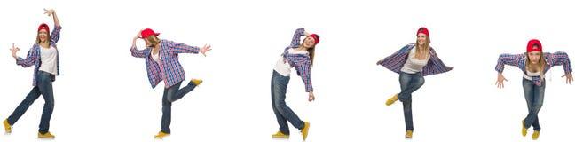 Il collage del dancing della donna isolato su bianco Fotografia Stock