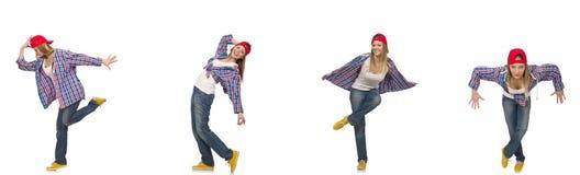 Il collage del dancing della donna isolato su bianco Immagine Stock Libera da Diritti