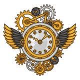 Il collage dell'orologio di Steampunk di metallo innesta nello scarabocchio Immagini Stock