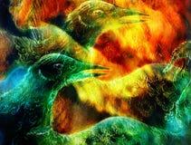 Il collage dell'uccello di Phoenix Fotografia Stock