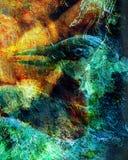Il collage dell'uccello di Phoenix e la struttura del crackel Immagine Stock