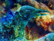 Il collage dell'uccello di Phoenix su tela Immagine Stock