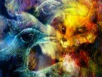Il collage dell'uccello e della volpe di Phoenix Immagini Stock
