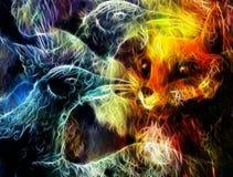 Il collage dell'uccello e della volpe di Phoenix, effetto di frattale Immagine Stock