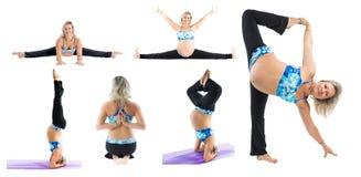 Il collage della donna incinta di forma fisica fa l'allungamento su yoga e su pilates posare su fondo bianco Fotografia Stock