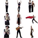 Il collage della foto degli uomini artistici si è vestito in costumi Fotografia Stock Libera da Diritti