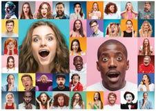Il collage della gente sorpresa immagine stock libera da diritti