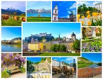 Il collage della vista dell'orizzonte di Salisburgo con il fiume Salzach, terra di Salzburger, Austria Fotografia Stock