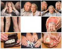Il collage delle immagini delle coppie anziane su fondo nero Fotografia Stock