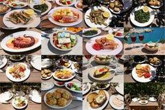 Il collage delle insalate differenti dei frutti di mare fa un spuntino i piatti di cucina greca deliziosa Fotografie Stock