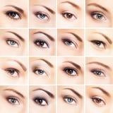 Il collage di bella femmina osserva con trucco Fotografia Stock