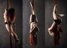 Il collage di bello ballerino sexy su seta aerea, distorsione graziosa, acrobata esegue un trucco sull'nastri fotografia stock libera da diritti
