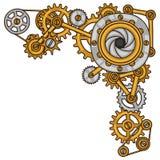 Il collage di Steampunk di metallo innesta nello stile di scarabocchio Immagini Stock