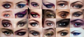 Il collage osserva la bellezza del primo piano con trucco creativo fotografia stock libera da diritti