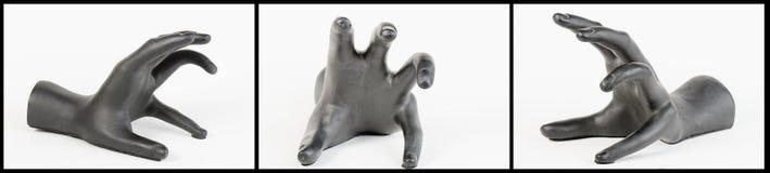 Il collage spaventoso nero della mano Fotografia Stock
