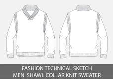 Il collare tecnico dello scialle degli uomini di schizzo di modo tricotta il maglione illustrazione di stock